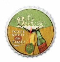 """11"""" It's Beer :30 Metal Bottle Cap Shape Hanging Clock"""
