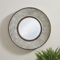 "27"" Round Ribbed Metal Mirror"