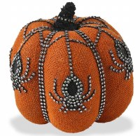 "6"" Orange Burlap Pumpkin With Jeweled Spiders"
