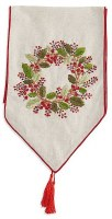 """72"""" x 13"""" Beige Red Berry Wreath Table Runner"""