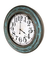 """27"""" Round Turquoise and Brown Wood Wall Clock"""