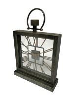"18"" x 13"" Dark Galvanized and Copper See Through Mantel Clock"