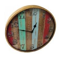 "20"" Round Multicolored Stipe Timberland Wood Clock"