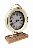 """10"""" Round Shabby Chic Cream Table Clock with Wood Base"""