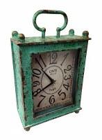 """15"""" x 9"""" Emerald Green Rustic Metal Mantel Clock"""