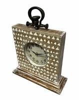 "15"" x 12.5"" White Wash Triangle Pattern Wood Mantel Clock"