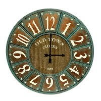 "34"" Round Verdigris and Copper Rimmed Clock with Wood Center"