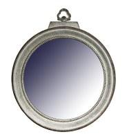"32"" x 27"" Large Locket Shaped Mirror with Galvanized  Metal Finish"
