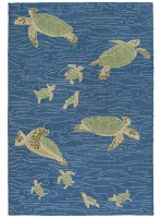 5 ft. x 8 ft. Blue and Green Sea Turtles Lalunita Rug