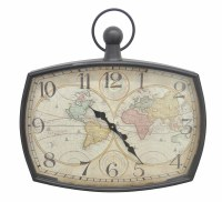 "25"" World Map Metal Wall Clock"