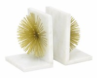 "6"" White Marble Gold Burst Bookends"