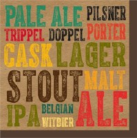 "5"" Square Craft Beers: Pale Ale, Stout, IPA, ALE, Malt Paper Beverage Napkins"