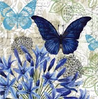 """5"""" Square Embossed Blue Floral with Butterflies Paper Beverage Napkins"""