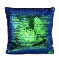 """18"""" Square Emerald Blue and Black Reversible Swipe Sequin Pillow"""
