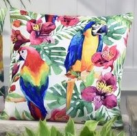"""18"""" Square Multicolored Parrots in Tropical Flora Pillow"""