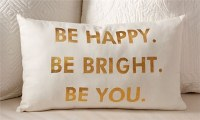 """12"""" x 20"""" White and Gold Be Happy Pillow"""
