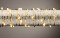 "132"" Battery Operated Warm 62 LED Gold Wire Light String"