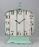 """18"""" Rustic White Wood and Teal Metal Table Clock"""