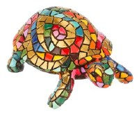 """5"""" Gold and Multicolor Mosaic Carnival Turtle"""