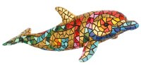 """7"""" Gold and Multicolor Mosaic Dolphin"""