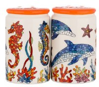 """3"""" Multicolor Ceramic Dolphin and Seahorse Salt and Pepper Shakers"""