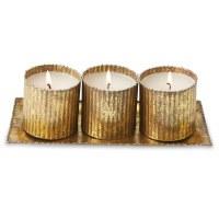 """3"""" Set of 3 Gold Tin Vanilla Votives on Tray"""
