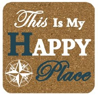 "4"" Square Set of 4 Happy Place Cork Coasters"