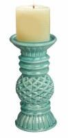 "7"" Turquoise Ceramic Diamond Pillar Candleholder"