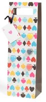"""14"""" x 5"""" Card Suit Bottle Gift Bag With Glass Markers"""