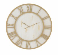 """36"""" Round Gold and White Roman Numerals Wall Clock"""