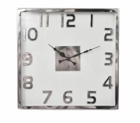 """14"""" Square Silver and Gray Wall Clock"""