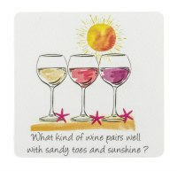 """4"""" Square What Kind of Wine Pairs Well Coaster"""