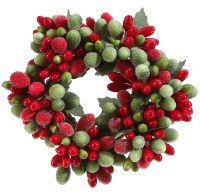 "1"" Faux Red and Green Berry Candle Ring"