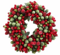 "2"" Faux Red and Green Berry Candle Ring"