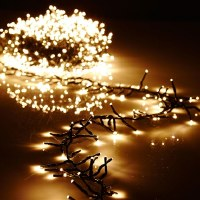 "120"" Green Wire Garland of 300 Warm White LED Lights"