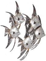 "24"" White and Silver Capiz Angelfish School Plaque"