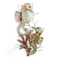 """23"""" 2 Seahorses in Coral Plaque"""
