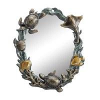 "20"" Oval Verdigris and Bronze Sealife Wall Mirror"