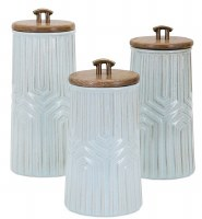 Set of 3 Light Blue Ceramic Canisters With Wood Lid