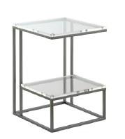 """17"""" Acrylic Top and Gray Metal Leg End Table"""