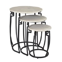 "19"" Set of 3 Round White Marble Nesting Tables"
