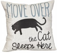 """18"""" Square Cat Sleeps Here Pillow"""