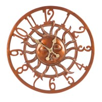 "24"" Round Bronze Sun Outdoor Wall Clock"