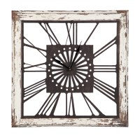 "19"" Square White Wood and Metal Openwork Wall Clock"