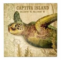 """20"""" Square Captiva Island Sea Turtle Wood Wall Plaque"""