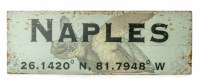 """7"""" x 20"""" Green Naples Sea Turlte Wood Wall Plaque with Latitude Coordinates"""
