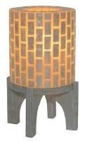 """15"""" Wood Based Capiz Cylinder Lamp"""