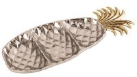 """17"""" Silver and Gold Metal 3 Compartment Pineapple Tray"""
