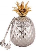 """13"""" Silver and Gold Pineapple Ice Bucket and Tong"""