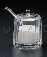 """4"""" Clear Acrylic Sugar Bowl with Lid and Spoon"""